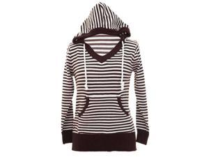 Brown & White Striped Hooded V-Neck Knit Sweater