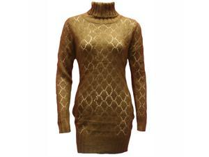 Brown Long Sleeve Turtle Neck Tunic Sweater