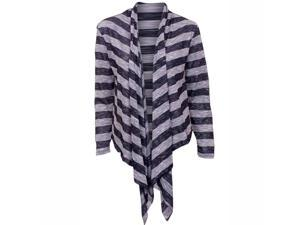 Striped Navy Blue Long Sleeve Flowing Shrug Sweater