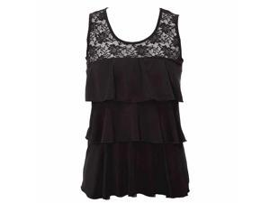 Black Tiered Ruffle Layered Lace Shoulder Top