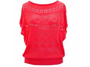 Coral Pink Geometric Pattern Open Knit Sheer Short Sleeve Sweater Top
