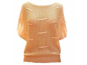 Beige Open Knit Semi Sheer Short Sleeve Sweater Top