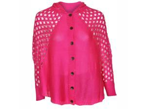 Fuchsia Pink Open Knit Crochet Hooded Button Down Cardigan