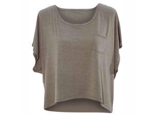Taupe Gray Short Sleeve Tissue Jersey Knit High-Low Top