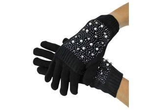 Black Rhinestone & Pearl Knit Arm Warmer Convertible Mitten Gloves