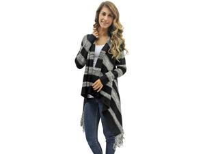 Black & Gray Stripe High-Low Fringed Sweater Jacket