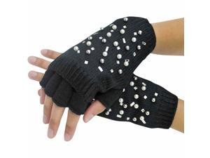 Black Half Finger Knit Arm Warmer Gloves With Rhinestones & Pearls