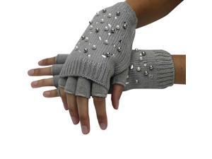 Gray Half Finger Knit Arm Warmer Gloves With Rhinestones & Pearls
