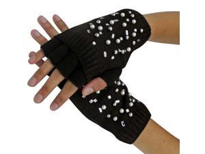 Brown Half Finger Knit Arm Warmer Gloves With Rhinestones & Pearls