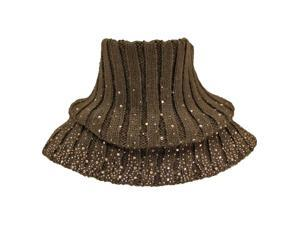 Brown Ribbed Knit Neck Warmer With Rhinestones
