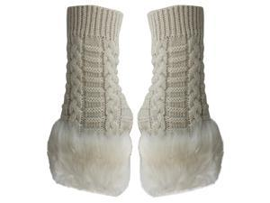 Ivory Faux Fur Trim Fingerless Arm Warmer Gloves