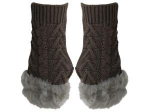 Brown Arm Warmer Gloves With Faux Fur Trim