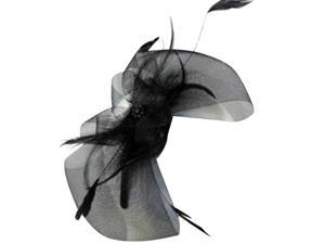 Black Bow Fascinator Headband With Feathers