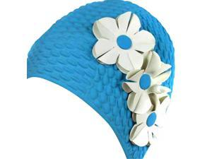 Blue Latex Swim Bathing Cap With Flowers