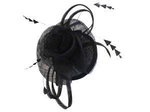 Black Large Rose Sinamay Fascinator Headband