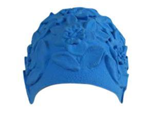 Blue Floral Embossed Latex Swim Bathing Cap