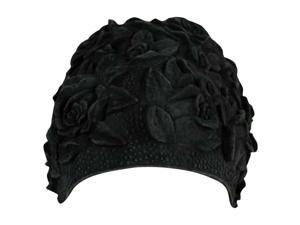 Black Floral Embossed Latex Swim Bathing Cap