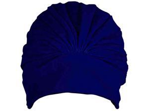 Navy Blue Latex Lined Bathing Turban Cap