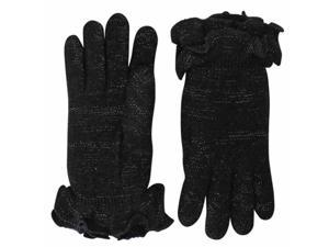 Black Knit Double Layer Gloves With Ruffle Trim