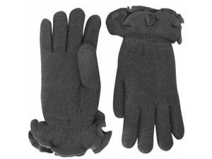 Gray Knit Double Layer Gloves With Ruffle Trim