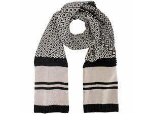 Beige & Black Fleur De Lis Heavy Knit Winter Scarf