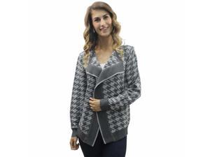 Gray Bold Houndstooth Cardigan Sweater