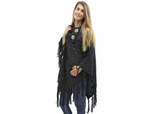 Black Cable Knit Turtleneck Poncho With Sequins & Long Fringe