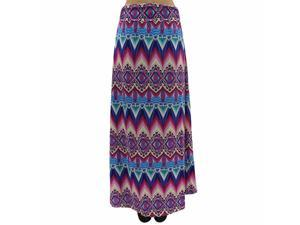Pink & Blue Multicolor Print Fold-Over Maxi Skirt