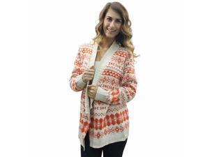 Orange Aztec Open Cardigan Sweater