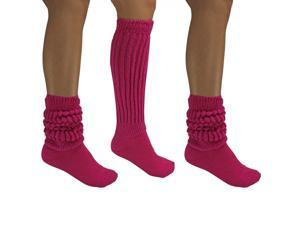 Hot Pink All Cotton 3 Pack Extra Heavy Slouch Socks