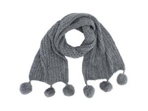 Grey Long Knit Scarf With Pom-Poms