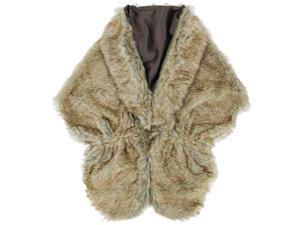 Brown Solid Faux Fur Plush Shawl Wrap With Satin Lining