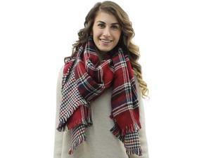Red Classic Plaid Oblong Reversible Long Shawl Wrap