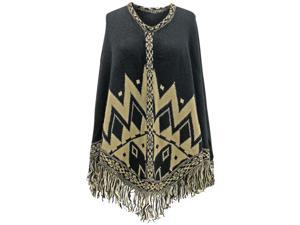 Black Chevron Aztec Poncho With Fringe