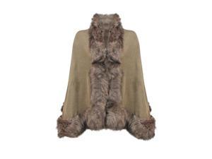 Khaki Tan Thick Oversize Fur Trim Shawl Wrap