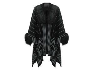 Black & Gray Sweater Cape With Fur Trim
