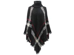 Black White & Red Classic Plaid Poncho
