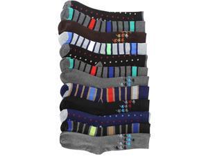 Men's Assorted Polka Dot Stripe & Houndstooth 12 Pack Dress Socks