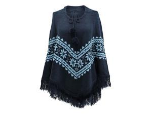 Blue Two-Tone Hooded Poncho With Snowflake Print