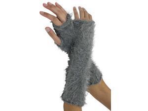Gray Metallic Fuzzy Knit Fingerless Arm Warmers