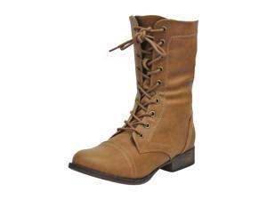 Tan Military Combat Boots With Zipper Closure