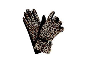 Black Leopard Print Gloves With Buckle Trim