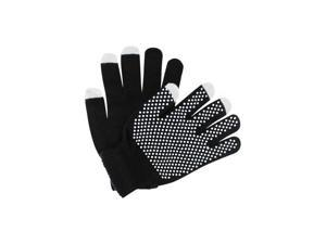 Black Textured Knit Texting Touch Screen Gloves