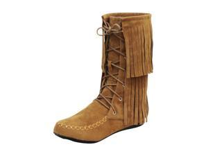 Brown Suede Style Moccasin Boots With Fringe