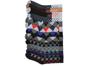 Men's Assorted Checker & Plaid Colorful 12 Pack Dress Socks