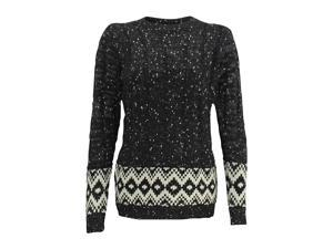 Black & White Marled Cable Knit Long Sleeve Sweater