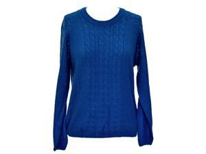 Blue Warm Winter Cable Knit Long Sleeve Pullover Sweater