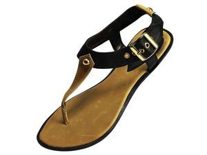 Dark Brown Thong Style Sandal Flats With Gold Tone Buckle