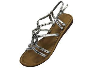Silver Open Strappy Studded Flat Sandals