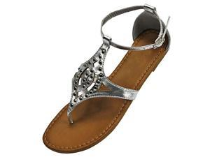 Silver Ankle Strap Studded Thong Sandals